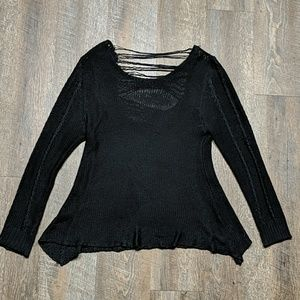 Black Open Knit Distressed Sweater Ya Los Angeles